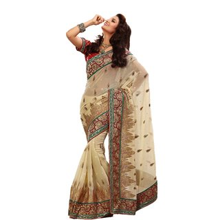 Monalisa Indian Designer Wear Off White Marble Chiffon Embroidered
