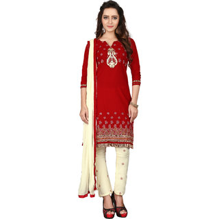 bc331774ed Buy BanoRani Maroon & Cream Color Cotton Embroidery UnStitched Dress  Material (BR-2077) Online - Get 53% Off