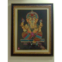 Attractive Ganapati Photo Frames Decorated With Artificial Gemstones