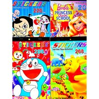 PACK OF4, BARBIE, CHOTA BHEEM, DORAEMON,WINNIE THE POOH STICKER BOOKLET FOR KIDS
