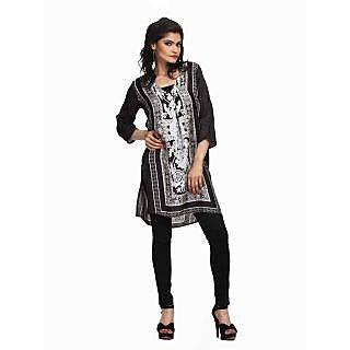 Atri Gorgeous Black Polyester 3/4Th Sleeves Top