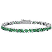 LoveBrightJewelry Lovely Frosted Emerald Tennis Bracelet In 14K White Gold