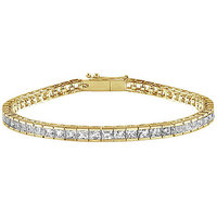 LoveBrightJewelry 18K Yellow Gold & Diamond Tennis Bracelet