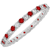 LoveBrightJewelry Admirable 14K White Gold Ruby & Diamond Eternity Bangle