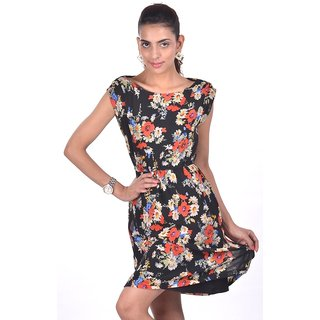 Black Print Georgette Dress