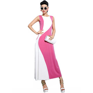 Pink Cotton Blended Women's Dress