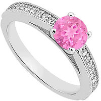 14K White Gold Pink Sapphire And Diamond Engagement Ring