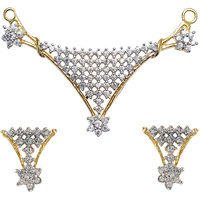 Cz Crystals Studded And Gold Plated Classic Mangalsutra Set With Chain Design 4