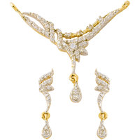 Cz Crystals Studded And Gold Plated Classic Mangalsutra Set With Chain Design 6