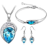 Ocean Blue Austrian Crystal Leaf Design Necklace Set Combo Design 1