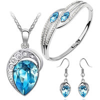 Cyan's Blue Austrian Crystal Leaf Design Necklace Set With Earrings & Bracelet