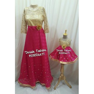 Buy Pink Gold Mom N Daughter Combo Gowns Online Get 0 Off