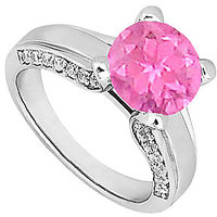 Pink Sapphire & Cubic Zirconia Engagement Ring 1.00 CT TGW Option 5