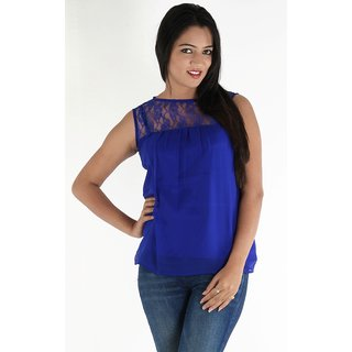 Urbane Woman Blue Lace Yoke With Uneven Gathered Top