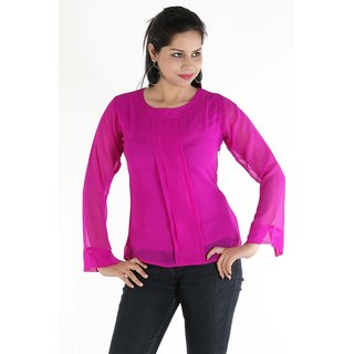 Urbane Woman Purple Top With Box Pleats With Full Sleevs