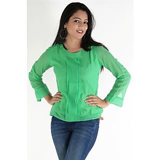 Urbane Woman Green Top With Box Pleats With Full Sleevs