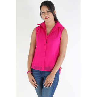 Urbane Woman Pink Top With Pleats On Yoke &  Chinese Collar