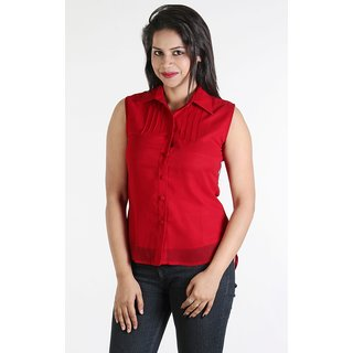 Urbane Woman Red Top With Pleats On Yoke &  Chinese Collar