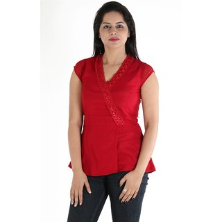 Urbane Woman Maroon Top With Belt &  Frill Lace