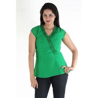 Urbane Woman Green Top With Belt &  Frill Lace