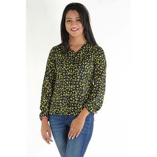 Urbane Woman Blue Full Sleeve Shirt Look Top