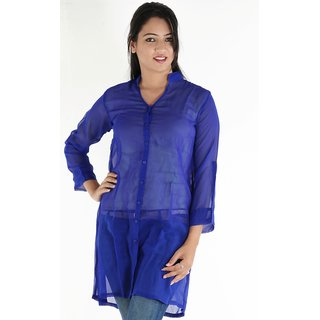 Urbane Woman Pretty Blue Shirt Type Long Georgette Top