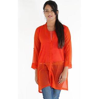 Urbane Woman Orange Shirt Type Long Georgette Top
