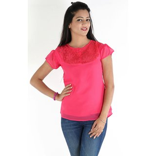 Urbane Woman Pink Lace Yoke Top
