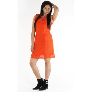 Urbane Woman Orange Dress With Lace Yoke