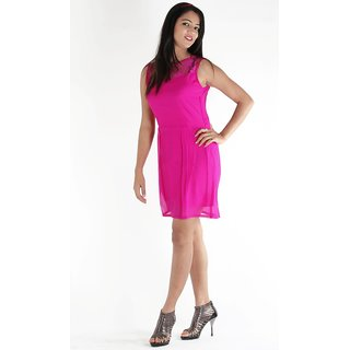 Urbane Woman Purple Dress With Lace Yoke