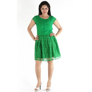 Urbane Woman Green Box Pleat In Front With Lace Fabric Bottom