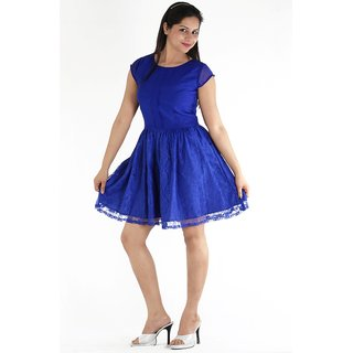 Urbane Woman Blue Box Pleat In Front With Lace Fabric Bottom