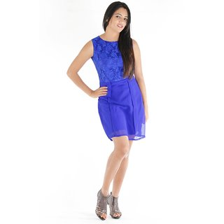 Urbane Woman Blue Box Pleated Dress With Net