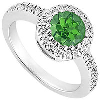 Frosted Emerald & Cubic Zirconia Engagement Ring 0.75 CT TGW Option 3