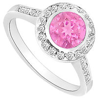Pink Sapphire & Cubic Zirconia Engagement Ring 1.00 CT TGW Option 2