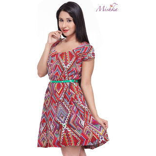 Mishka Mesmerizing Red Printed Dress
