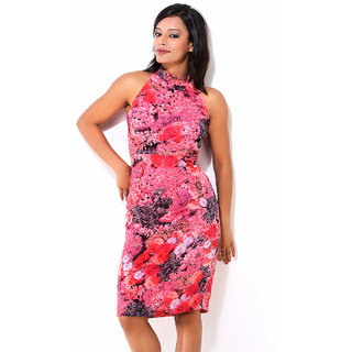 Jiiah Digital Print Red And Magenta Floral Dress
