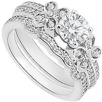 Diamond Engagement Ring With Diamond Wedding Band In 14K White Gold