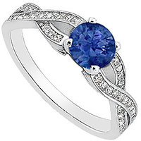 LoveBrightJewelry Diamond & Natural Blue Sapphire Engagement Ring In 14K White Gold - 3452267