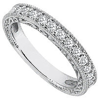 LoveBrightJewelry Diamond Wedding Ring In 14K White Gold Milgrain