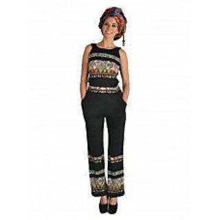 Black Tribal Print Long Jumpsuit