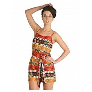 Multi Coloured Tribal Printed Short Jumpsuit