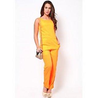 Orange Solid Long Jumpsuit