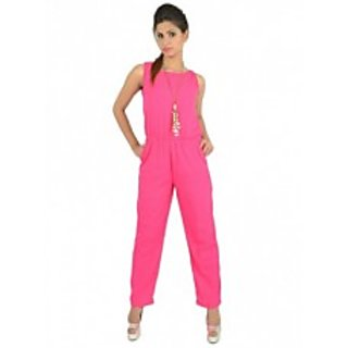 Pink Solid Long Jumpsuit