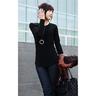 PBG Round Collar Pure Color Long Sleeves Base T-shirt Black