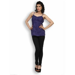 Atri Alluring Blue Cotton Sleeveless Top