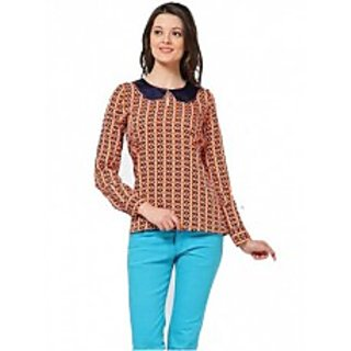 Orange Printed Casual Tunic With Peter Pan Collar