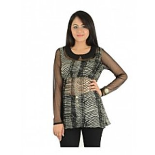 Black Printed Georgette Fullsleves Top [CLONE]