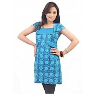 2 IN 1 BLUE PRINTED KURTA CUM DRESS [CLONE]