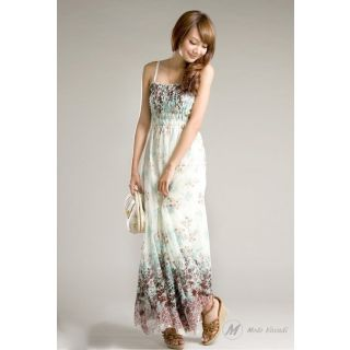 Modo Vivendi | Long Maxi Dress With Strip Shoulder For Summer | Chiffon Maxi